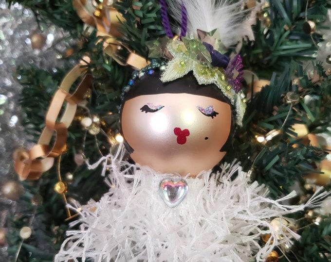 Sylvia Handmade Doll Christmas Ornament, Handcrafted OOAK Ornament, Christmas Ornament