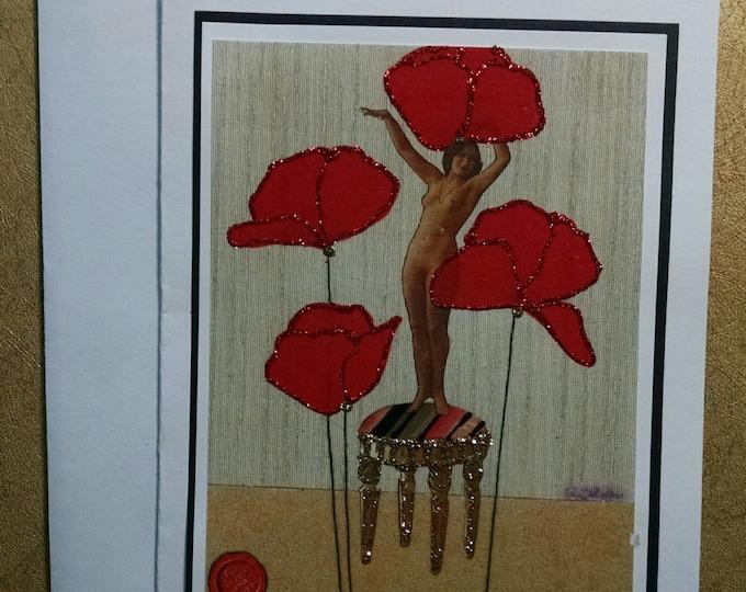 Nude Poppy Card- Dancer, Valentine, Love, Lover, Valentines, poppy,  poppies, greeting card,
