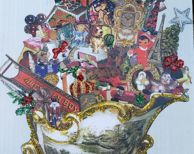 Luxury Embellished Christmas Sleigh Holiday Print-Handmade,Collage Art,Clock,Santa Claus,Lantern,Holly,Mistletoe,Glitter,Rhinestone