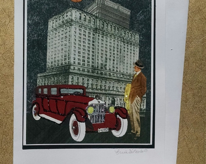 Vintage Car Greeting Card- City, For Him, Automobile, Fedora, Cigar, Moon