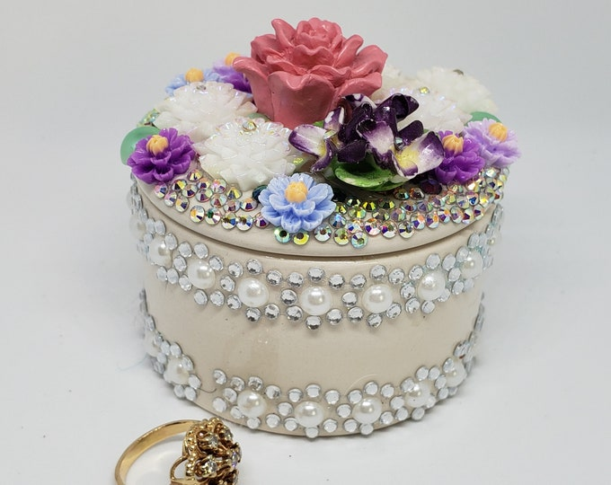 Fancy Porcelain Ring Box, Bespoke Ring Box, Violet Box