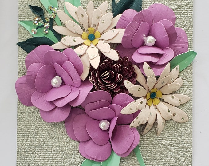 Handmade Purple Paper Flowers Card-Elegant Luxury Card,Birthday card,wedding card,handcrafted card,anniversary card