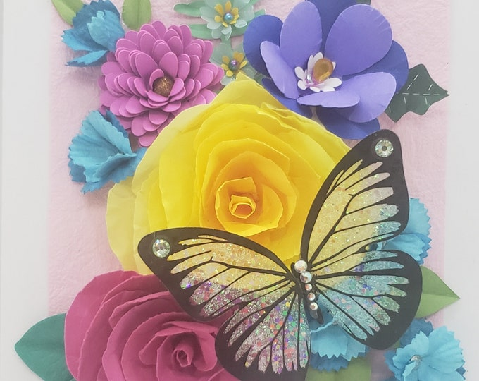 Handmade Yellow Rose Card, Bling Card, Paper Spring Flowers