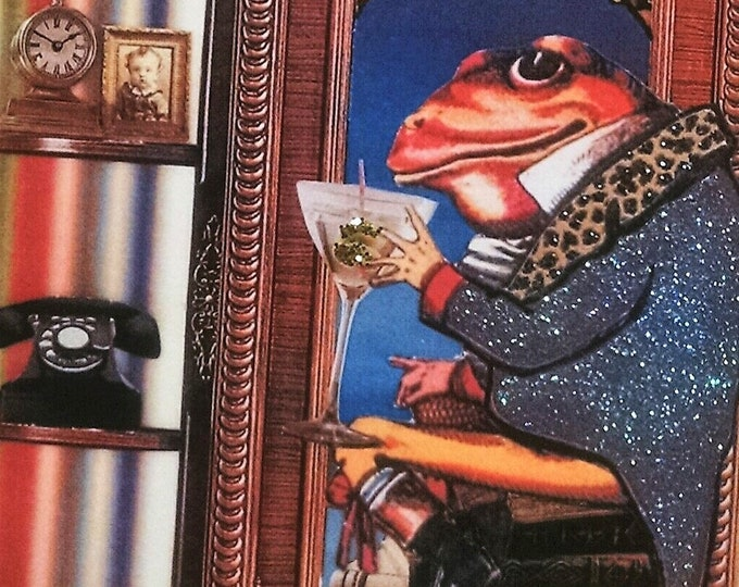 Frog in the Library with Martini Card-Frog,cocktail,books,dandy,martini,olive,birthday,blank,telephone,books,read,reading,gentleman,