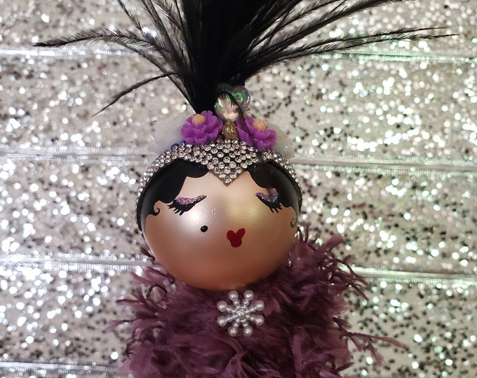 Lola Handmade Purple Flapper Christmas Ornament, Handcrafted OOAK Ornament,Purple Christmas Ornament