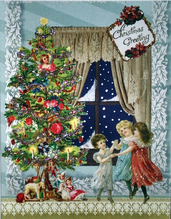 Victorian Christmas Tree.Victorian Christmas Tree Card Blank Ornaments Tinsel Nostalgia Toys Glitter Children Snow Window Kids Presents Greetings Vintage