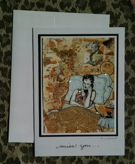 Vintage Embellished Phone Romance Telephone Bed Glamour Words, Word Art Card- Miss You