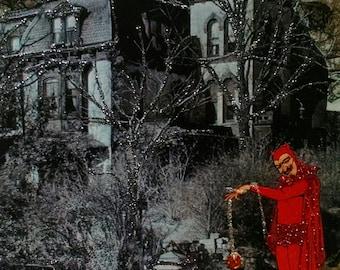 Devil Cat Card, Haunted House Card,Gothic Blank Card, Halloween Card