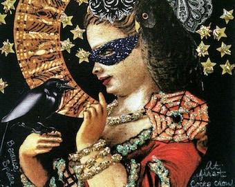 Halloween Girl Card,Handmade Blank Card,Halloween Card for Framing,Gothic Card