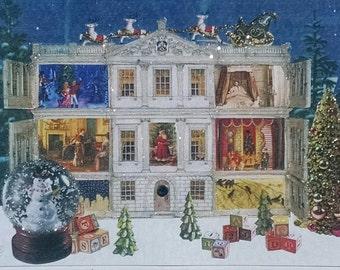 Christmas Dollhouse Card,Holiday Home Card,Home Sweet Home Card,Victorian Dollhouse Card,Victorian Christmas,Victorian Christmas Card,