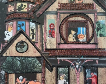 Haunted House Card, Handmade Card, Embellished Halloween Card, Haunted Mansion Card