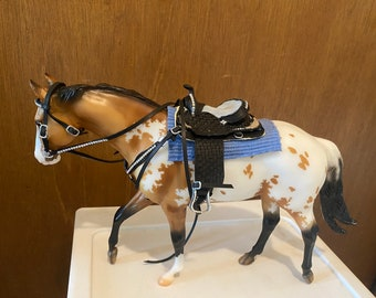 Tooled Black, crystal and silver western saddle tack Set  fits traditional scale breyer model horse