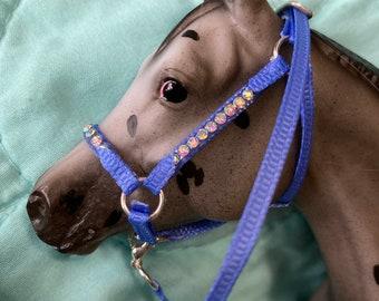 "Periwinkle ""nylon"" stable halter with aurora borealis rhinestones fits  traditional scale breyer model horse"