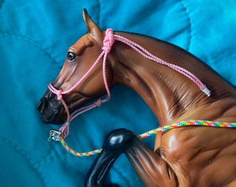 Pink rope halter fits traditional scale breyer model horse