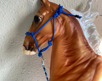 Blue rope halter fits traditional scale breyer model horse
