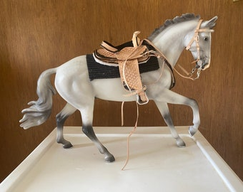 Tooled Tan and silver western saddle tack Set  fits traditional scale breyer model horse
