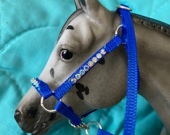 "Royal blue ""nylon"" stable halter with aurora borealis rhinestones fits  traditional scale breyer model horse"