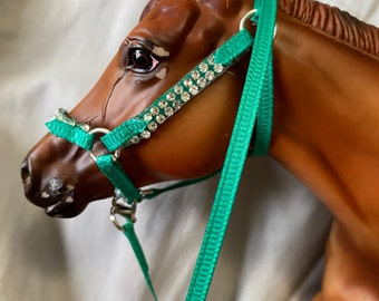 """Green """"nylon"""" stable halter with  double crystal rhinestones fits  traditional scale breyer model horse"""