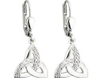 Sterling silver trinity knot celtic earrings