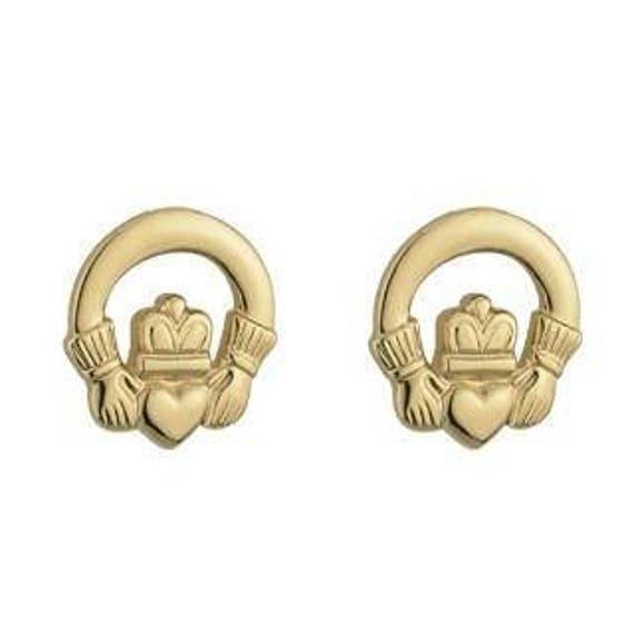 4148eac6e3876 Claddagh stud earrings - gold plated