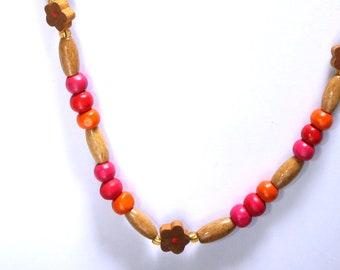 Hope Kids Flower Necklace, Pink Girls Necklace, Wooden Bead Necklace, Girls Wooden Necklace, Pink, Flowers, Gold