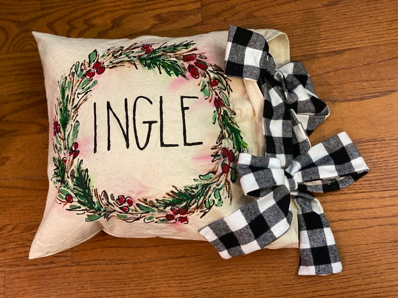 Pillow Cover Hand-made Hand-painted big Bow Holiday Wreath