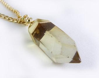 Quartz Pendant, Natural Quartz, Quartz Necklace, Translucent Pendant, Gold Plated Pendant, Statement Pendant, Necklace, Pendant Necklace