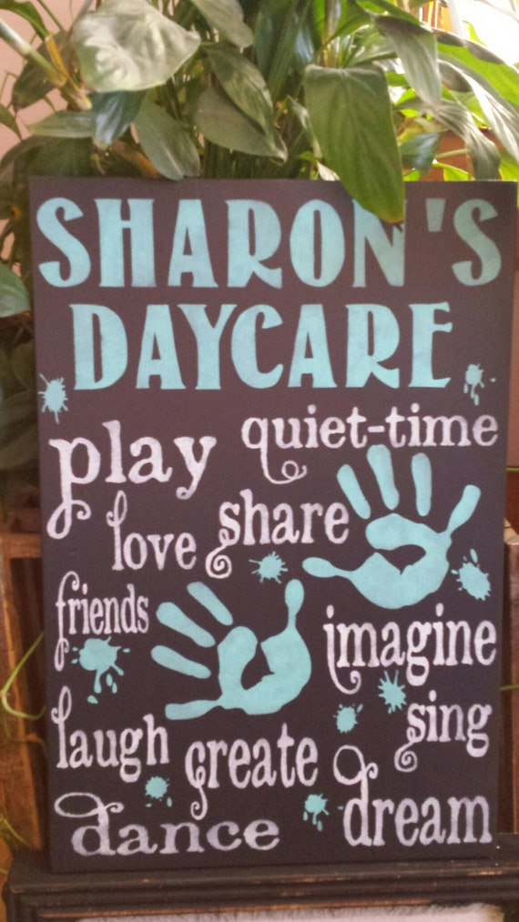 daycare sign personalized with provider s name words etsy