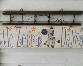 DAYCARE/BABYSITTER'S PORCH sign personalized for your daycare provider.  Handpainted sign to hang by the front door.  Made special for you!