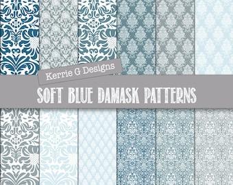 Blue Damask Digital paper pack,  damask scrapbooking paper, Downloadable, patterned paper, Instant Download , patterned paper pack