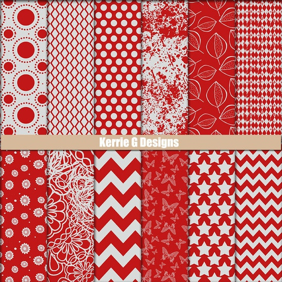 photo about Printable Patterned Paper named Printable Cardstock electronic Packs sbooking paper, Crimson and Gray / grey Downloadable patterned paper heritage, gray digi paper routine