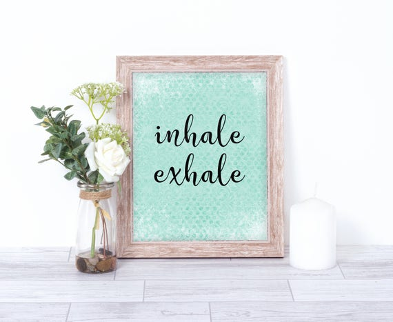 Inhale Exhale Print Yoga Wall Art Yoga Quotes Wall Art | Etsy