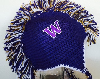 UW Huskies Mohawk hat, Huskies team spirit hat, Husky earflap hat