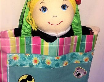 Handmade #SQUAD Striped Tote with Manufactured Ready for School or Church Girl