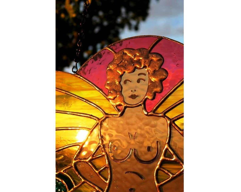 Neo Traditional Tattoo Stained Glass Nude Fairy Butterfly By Etsy