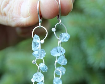 Aquamarine nugget Dangle Earrings with Silver