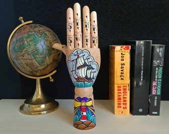 Tattoo wooden hand - SINK OR SWIM Handpainted Samak wooden hand with vessel and lighthouse, design sea lovers home decor, oddities