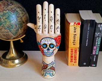 Hand painted Samak wooden hand with mexican skull and guns, retro home decor, oddities