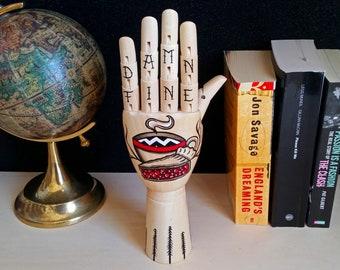 Tattoo wooden hand - TWIN PEAKS Handpainted Samak wooden hand traditional tattoo style, home decor, oddities,