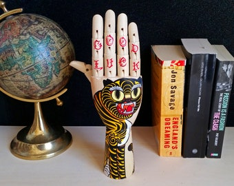 Tattoo wooden hand tIGER- Hand painted Samak wooden hand  traditional tattoo style tiger, home design, oddities