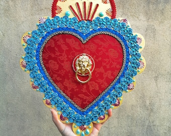 Sacred heart decorated in wood and fabric, Valentine's Day gift