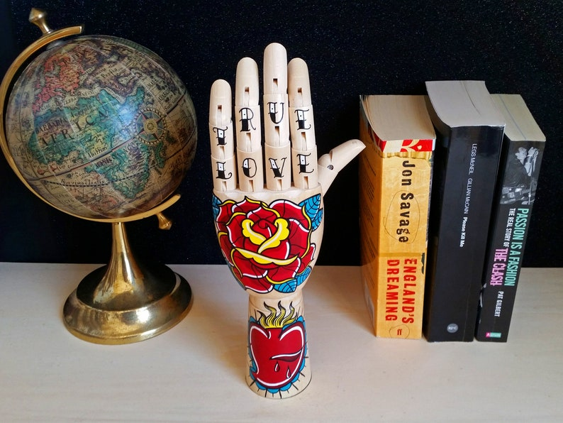 Tattoo wooden hand  SACRED HEART ROSE Handpainted Samak image 0