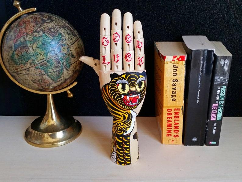 Tattoo wooden hand tIGER Hand painted Samak wooden hand image 0