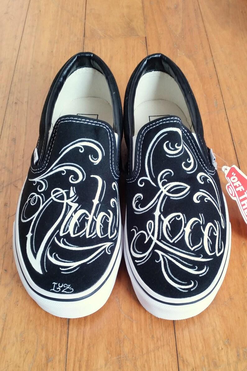 e4b593fc515f8 Handpainted Vans Slip on tattoo style chicano lettering Vida | Etsy