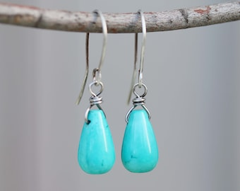 mini crystal dangle on chain handmade samll turquoise nugget antique silver bicone cap Genuine Turquoise earrings with Lava Bead Dangle