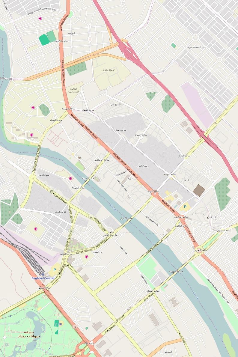 Editable City Map of Baghdad | Etsy