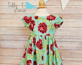 Ready to Ship - Teal and Red Flowers Toddler Girls Dress 2T Peasant Dress
