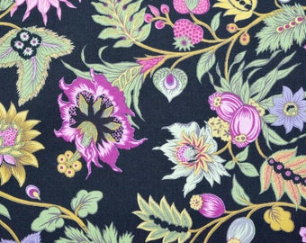 YARD Cotton Quilt Fabric large floral - black pink mauve green - 1 YD - By the yard - yardage half yard fat quarter - TF113