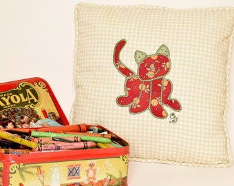 Pillow Red Kitten 12 x 12 embroidered appliqued kitten Cat Pussycat Child drawing Square pillow Beige Gingham Red Cat Cushion Home accent