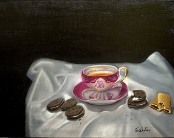 Tea and cookies, oil painting,18x24,kitchen art, wall art, home decor,still life